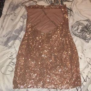 Fashion Nova Dresses - Fashion Nova RoseGold Sequin Dress.